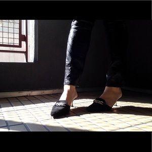 Manolo Blahnik suede kitten heels
